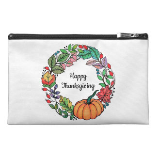 Watercolor Beautiful Pumpkin Wreath with leaves Travel Accessory Bag