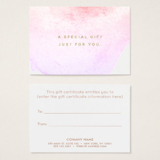 Watercolor Beauty Salon Spa Gift Certificate
