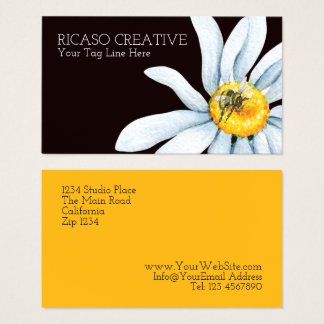 Watercolor Bee on Flower Custom Personalized Business Card