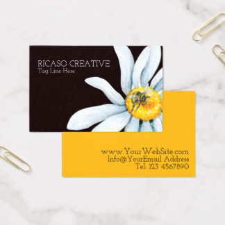 Watercolor Bee on Flower Personalised Business Card