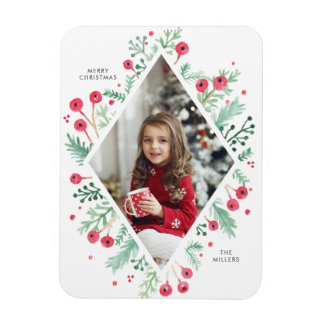 Watercolor Berries Diamond Holiday Photo Magnet