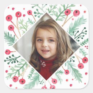 Watercolor Berries Diamond Holiday Photo Sticker