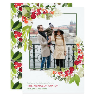 Watercolor Berry Frame Chritmas Photo Card