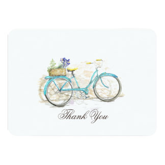 Watercolor Bicycle with Basket Thank You Card