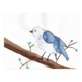 Watercolor bird kids art postcard