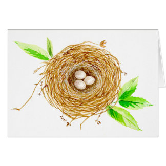 Watercolor Bird Nest with 3 Eggs Card