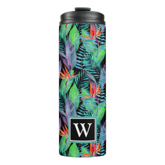 Watercolor Bird Of Paradise | Add Your Initial Thermal Tumbler