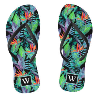 Watercolor Bird Of Paradise | Add Your Initial Thongs