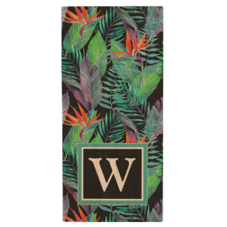 Watercolor Bird Of Paradise | Add Your Initial Wood USB 2.0 Flash Drive