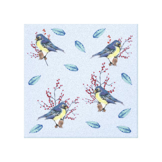Watercolor Birds and Berries Canvas Print