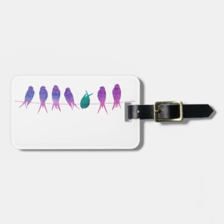 Watercolor Birds on a Line Luggage Tag