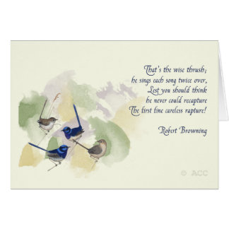 Watercolor Birds Robert Browning Poem Card