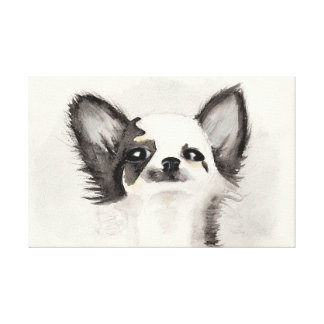 Watercolor black and white chihuahua puppy canvas print