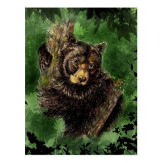 Watercolor Black Bear Hugs  Animal Art Postcard