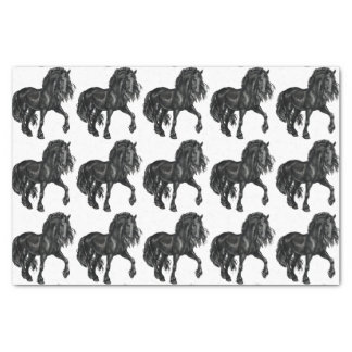 "Watercolor Black Friesian Horse tissue 10"" X 15"" Tissue Paper"