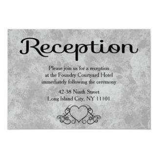 Watercolor Black & Gray Hearts Wedding Reception 9 Cm X 13 Cm Invitation Card