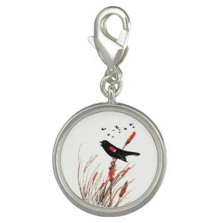 Watercolor Blackbird on Cattails Wetland Bird Art