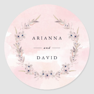 Watercolor Bliss | Blush Pink Floral Wreath Classic Round Sticker