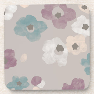 Watercolor Blooms Coaster - Taupe Beverage Coaster