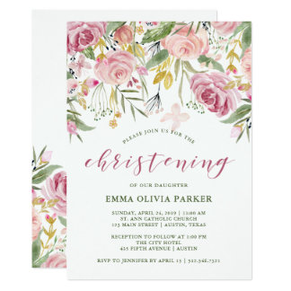 Watercolor Blooms Pink and Gold Floral Christening Card