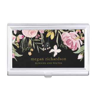 Watercolor Blooms | Pink and Gold Floral on Black Business Card Holder