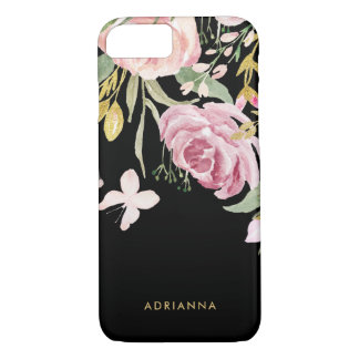 Watercolor Blooms | Pink and Gold Floral on Black iPhone 8/7 Case