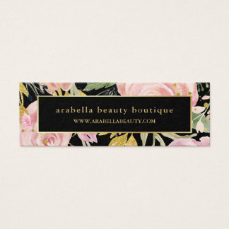Watercolor Blooms | Pink and Gold Floral on Black Mini Business Card