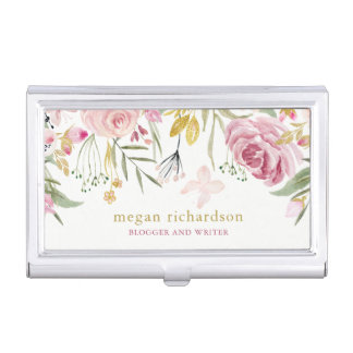 Watercolor Blooms | Pink and Gold Floral on White Business Card Holder