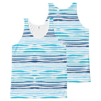 Watercolor blue abstract summer pattern tank top