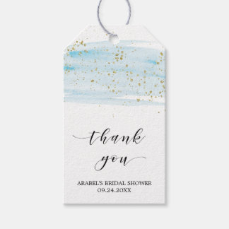 Watercolor Blue and Gold Bridal Shower Thank You Gift Tags