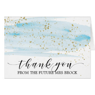 Watercolor Blue and Gold Future Mrs Thank You Card