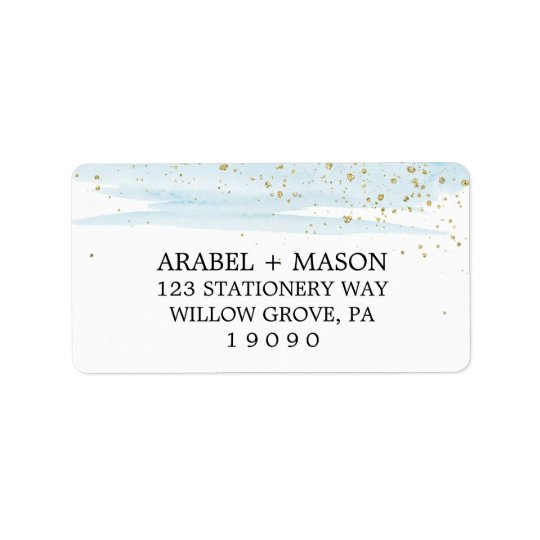 Watercolor Blue and Gold Sparkle Wedding Address Label