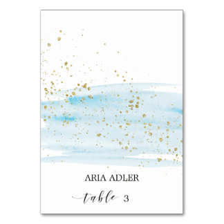 Watercolor Blue and Gold Wedding Place Cards