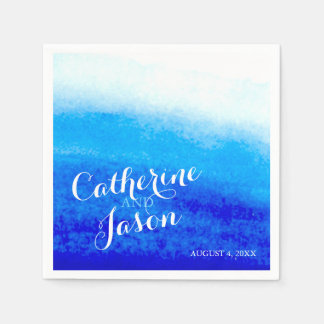 Watercolor Blue Beach Wedding Personalized Disposable Napkins