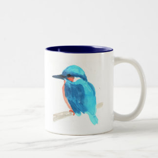 Watercolor blue bird Kingfisher on a mug
