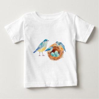 Watercolor blue birds, chicks and bird nest baby T-Shirt