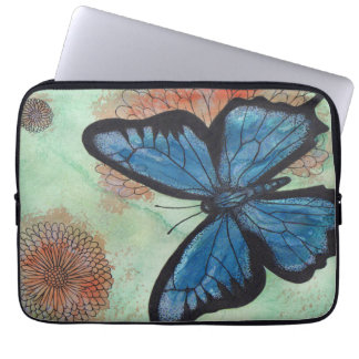 Watercolor Blue Butterfly Laptop Sleeve