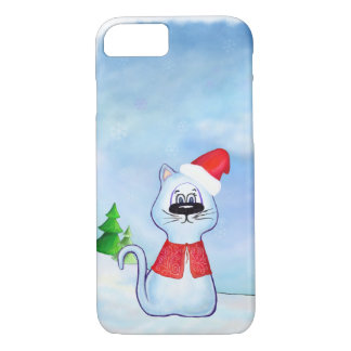 watercolor Blue cat Santa Claus, Christmas winter iPhone 8/7 Case