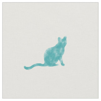 Watercolor blue cats fabric