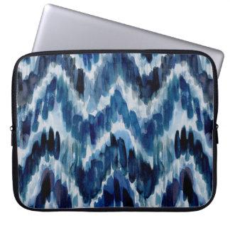 Watercolor Blue Chevron Ikat Laptop Sleeve