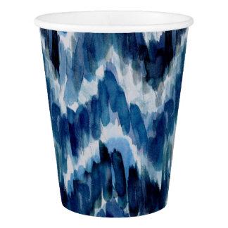 Watercolor Blue Chevron Ikat Paper Cup