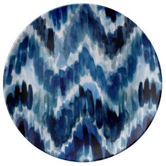 Watercolor Blue Chevron Ikat Plate