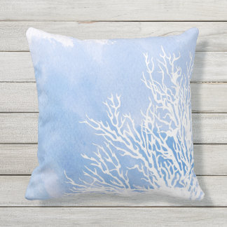 Watercolor blue coral reef modern beach summer outdoor cushion