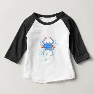 Watercolor blue crab paint splatter baby T-Shirt