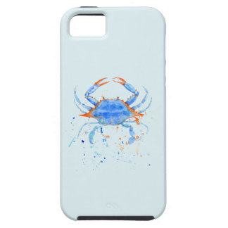 Watercolor blue crab paint splatter case for the iPhone 5