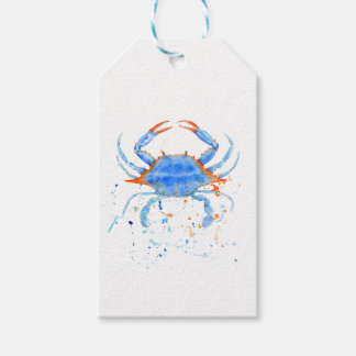 Watercolor blue crab paint splatter gift tags