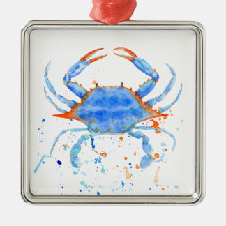 Watercolor blue crab paint splatter metal ornament