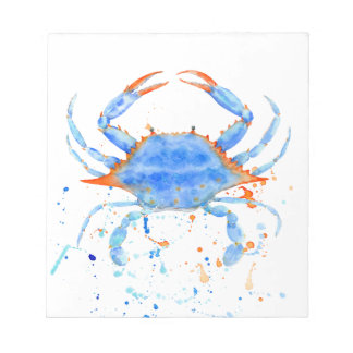 Watercolor blue crab paint splatter notepad