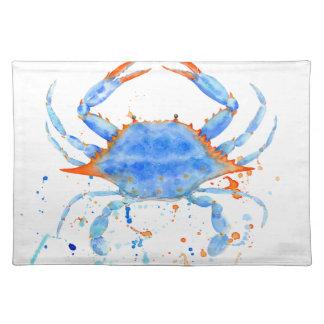 Watercolor blue crab paint splatter placemat