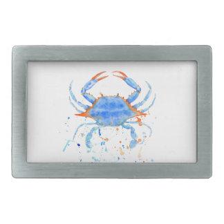 Watercolor blue crab paint splatter rectangular belt buckles